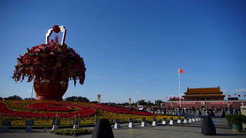 Gorgeous Baskets Full Of Flowers In Blue Sky.Beijing Tiananmen Square Sunny stock footage