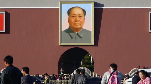 MaoZeDong portrait&Slogans on Beijing Tiananmen... Stock Video Footage