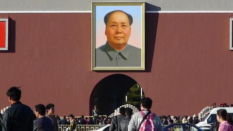 MaoZeDong portrait&Slogans on Beijing Tiananmen... Stock Video Footage