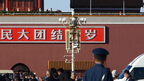 China Police on Beijing Tiananmen Square,Chinese tourist... Stock Video Footage