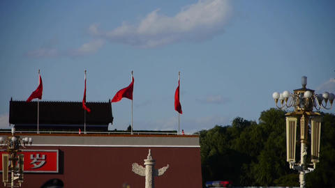 MaoZeDong portrait & Slogans on Beijing Tiananmen Square Footage