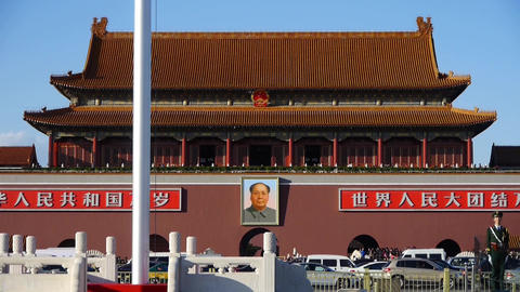 MaoZeDong's portrait,guard soldier & slogan on Beijing Tiananmen Square,traf Footage