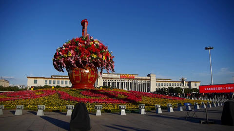 Baskets full of flowers.Beijing Tiananmen Square &... Stock Video Footage