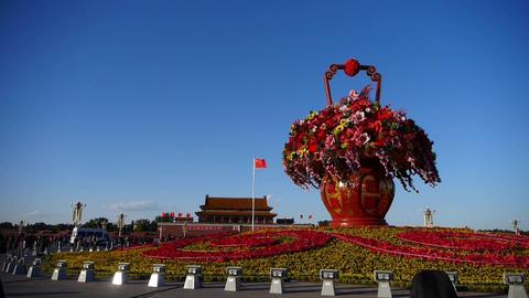 gorgeous baskets full of flowers in blue sky.Beijing... Stock Video Footage