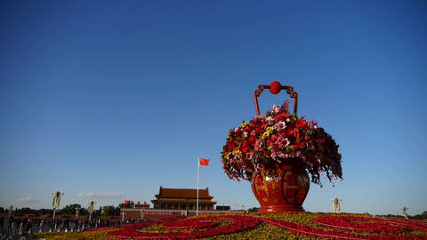 gorgeous baskets full of flowers in blue sky.Beijing... Stock Video Footage