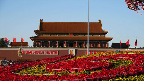 soldier&officer through Parterre full of flowers.Beijing Tiananmen Square Footage