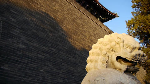 Stone lion stand in ancient wall of ancient Chinese architecture Live Action