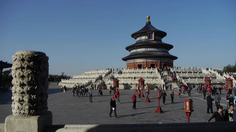Temple of Heaven in Beijing.China's royal ancient architecture.stone pillars Footage