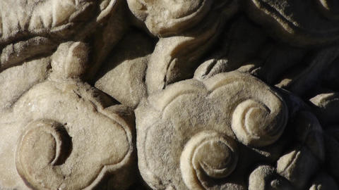 Close-up stone pillars carved sculpture & Cloud pattern Footage