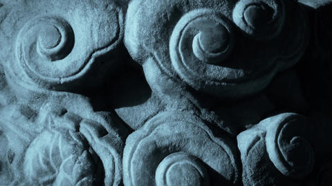 Close-up stone pillars carved sculpture & Cloud pattern Stock Video Footage