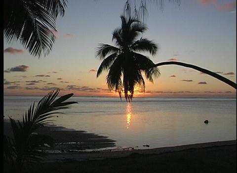 Golden-hour establishing shot of Rarotonga one of the... Stock Video Footage