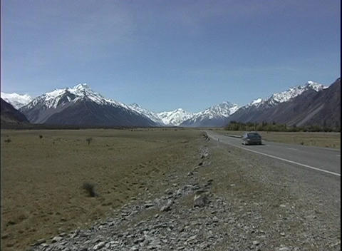 The camera zooms in on snow-capped Mt. Cook in New... Stock Video Footage