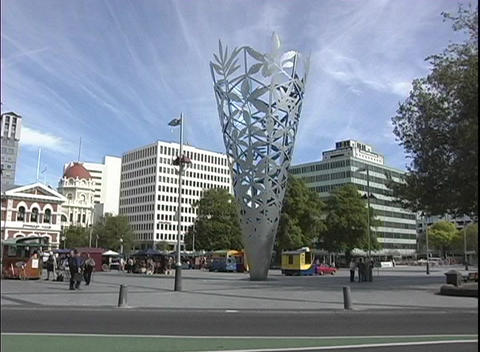 A sculpture sits in City Centre of downtown Christchurch,... Stock Video Footage