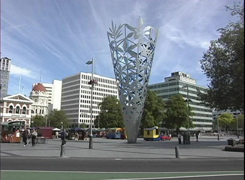 A sculpture sits in City Centre of downtown Christchurch, New Zealand Footage