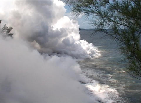 Lava flows from a volcano into the sea at Reunion Island,... Stock Video Footage