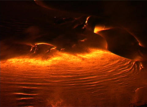 Lava oozing from a volcano forms strange otherworldly... Stock Video Footage