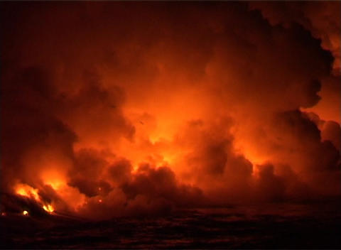 Clouds of flame, smoke, and steam billow when lava flows... Stock Video Footage