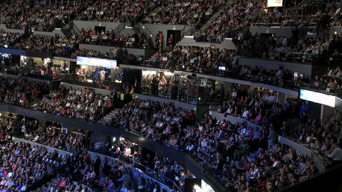 A packed stadium at Pepsi Center as Bill Clinton delivers... Stock Video Footage