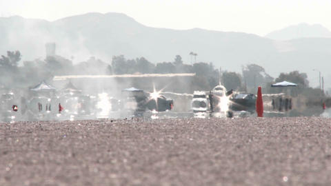 A long shot down the runway of Camarillo Airport as a... Stock Video Footage