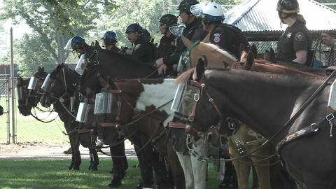 Riot police on horseback in Denver Colorado during the... Stock Video Footage