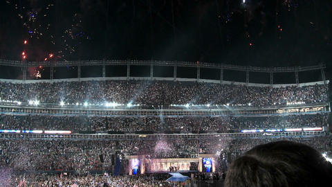 Fireworks explode over Investco Field as Senator Barack Obama accepts his party's nomination for Pre Footage