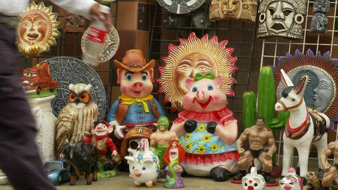 a store displays a random assortment of goods in Tijuana... Stock Video Footage