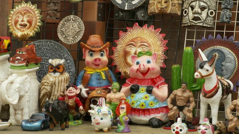 a store displays a random assortment of goods in Tijuana Mexico Footage