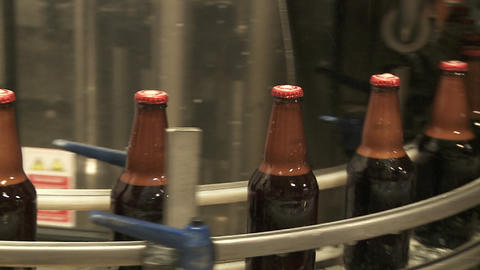 Bottles zip along a conveyor belt in a bottling plant Footage