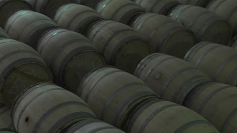 Barrels of beer in a warehouse Footage