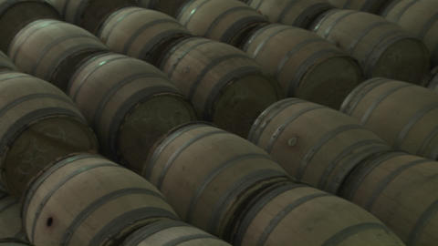 Barrels of beer in a warehouse Stock Video Footage