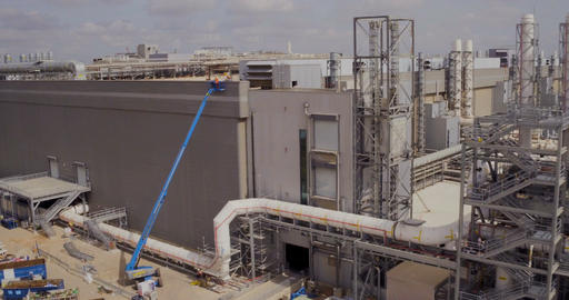 Aerial footage of a large industrial complex Footage