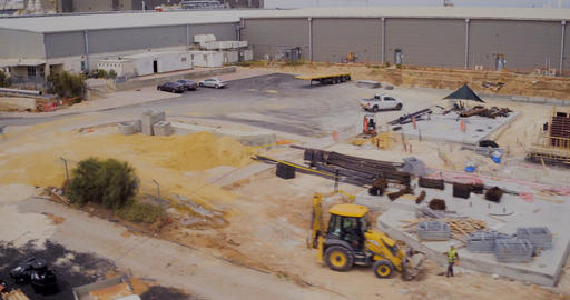 Aerial footage of a large construction site Footage