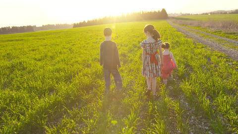 Three kids walking in a green field during sunset Footage