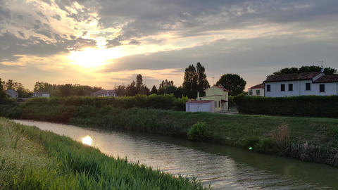 Landscape of the Po valley with river Live Action