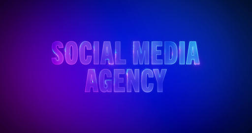 Social Media Agency. Electric lightning words. Logotype Animation