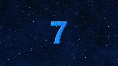 Countdown from 10 to 1 seconds, starry sky Animation