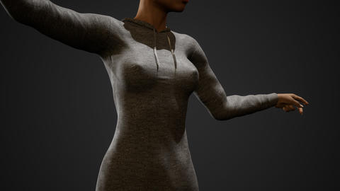 Sexy woman's breasts and nipples through the elegant hoody Live Action