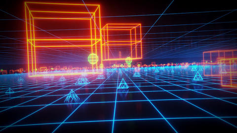 3D Neon Geometric Shapes in Cyberspace Loop Background Videos animados
