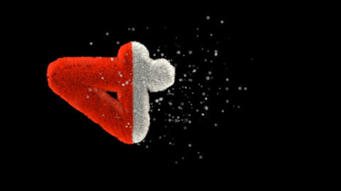 Animated hairy santa letters bouncing in to frame with snowflakes and alpha channel 4 Animation