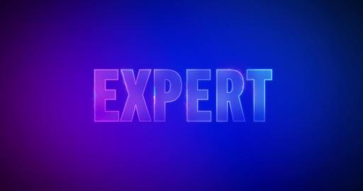 Expert. Electric lightning words. Logotype Videos animados