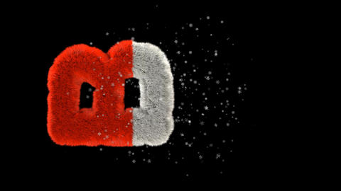 Animated hairy santa letters bouncing in to frame with snowflakes and alpha channel B Animation