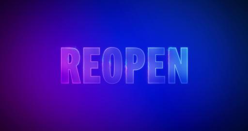 Reopen. Electric lightning words. Logotype Videos animados