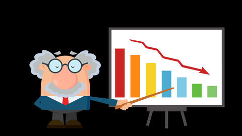 Professor Or Scientist Cartoon Character With Pointer Presenting A Falling Chart Animation