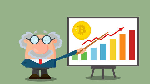 Professor Or Scientist Cartoon Character With Pointer Discussing Bitcoin Growth With A Bar Graph Animation