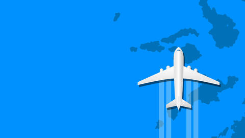 Airplane animation fly over around blue world map CG動画