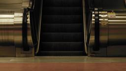 electric escalators steps moving up Live Action