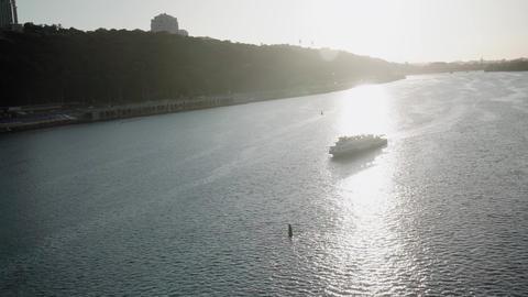 Transprt, reservoirs, travel, navigation concept - aerial survey from height Acción en vivo