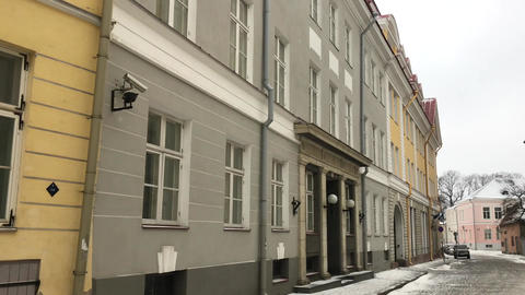 Tallinn, Estonia, A street scene with focus on the side of a building Live Action