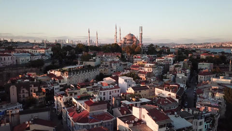Blue Mosque at Dusk, Istanbul Turkey. Aerial of Landmarks on Sunset Sunlight Live Action