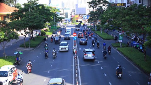 A traffic jam at the busy town in Ho Chi Minh long shot Live Action